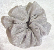 White and Silver Stretch Ponytail Holder-Large