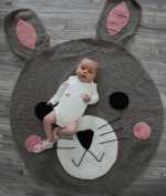 Bunny Playmat Handmade From Softest Cottons for Baby in Fun Designs Crochet Blanket