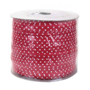 Red w/ White Hearts 300yd Giant Roll 1.6cm Fold Over Elastic