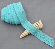 10 Yards Aqua Blue 2.5cm Elastic Lace Stretch Lace Elastic Lace Trim Elastic Headband Bridal Garter Baby Hairbow Tie DIY EL036