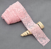 10 Yards Light Pink 3.8cm Elastic Lace Lace Elastic Lace Trim Elastic Headband Bridal Garter Baby Hairbow Ties DIY EL044