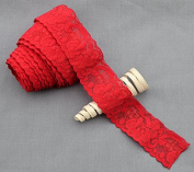 10 Yards Red 3.8cm Elastic Lace Lace Elastic Lace Trim Elastic Headband Bridal Garter Baby Hairbow Tie DIY Supply DIY EL055