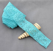 10 Yards Aqua Blue 3.8cm Elastic Lace Stretch Lace Elastic Lace Trim Elastic Headband Bridal Garter Baby Hairbow Ties DIY EL058