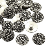 Pandahall 100PCS 19x6mm Mixed Platinum Tone Zinc Alloy Enamel Alphabet Snap Buttons, Flat Round