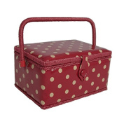 Hobby Gift MRM/22V | Cream Spot On Dark Red PVC Coated Medium Sewing Basket