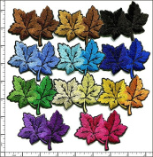 Qiagraphix 11 Pcs Embroidered Iron on patch Mixed Colour Maple Tree Leaf 7.2cm x 6cm