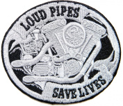 LOUD PIPES SAVE LIVES Funny Motorcycles Outlaw Hog MC Biker Rider Hippie Punk Rock Jacket T-shirt Patch Sew Iron on Embroidered Sign Badge