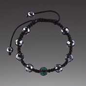Green Crystal Ball with Faceted Hematite Bracelet By Lenox