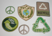 Forever Green Iron-On Appliques - Recycle, Peace Signs
