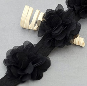 1 Yard 14 pcs Black Chiffon Rose Lace Trim Shabby Flower Lace Chiffon Flower Lace Felt Pad Bridal Garter Baby Headband LA105