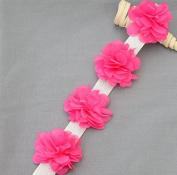 1 Yard 14 pcs Fuchsia Hot Pink Chiffon Rose Lace Trim Shabby Flower Lace Chiffon Flower Lace Felt Pad Garter Headband LA106