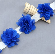 1 Yard 14 pcs Royal Dark Blue Chiffon Rose Lace Trim Shabby Flower Lace Chiffon Flower Lace Felt Pad Garter Headband LA094