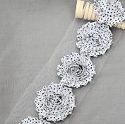 1 Yard 14 pcs White Black Polka Dot Shabby Flowers Shabby Rose Trim Printed Shabby Flowers Chiffon Rose Trim Headband LA103