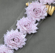 1 Yard 14 pcs White Fuchsia Hot Pink Polka Dot Shabby Flowers Shabby Rose Trim Printed Shabby Flowers Chiffon Rose Trim LA092
