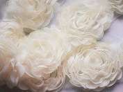 1 Yard Chiffon Rose Lace Trim Applique Ivory Cream 3D Bridal Wedding Camellia Ruffled Flower FREE Combine Shipping LA086