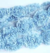 1 Yard Chiffon Rose Lace Trim Applique Sky Blue 3D Bridal Wedding Camellia Ruffled Flower LA087