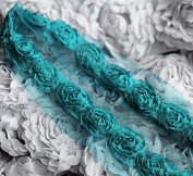 5 Yards Chiffon Rose Lace Trim Applique Teal Blue Bridal Wedding Tulle Tutu Dress FREE Combine Shipping USA LA060