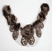 Chiffon Rose Lace Collar Trim Applique Dark Brown 3D Bridal Wedding Camellia Ruffled Flower FREE Combine Shipping US LA031