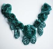 Chiffon Rose Lace Collar Trim Applique Teal Blue Bridal Wedding Camellia Ruffled Flower Trim LA029