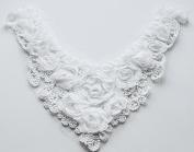 Chiffon Rose Lace Collar Trim Applique White 3D Bridal Wedding Camellia Ruffled Flower FREE Combine Shipping US LA053
