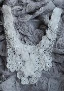 Chiffon Rose Lace Collar Trim Applique White 3D Bridal Wedding Camellia Ruffled Flower FREE Combine Shipping US LA079