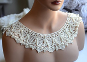 Pearl Beaded Collar Trim Applique Cotton Collar Bridal Wedding Necklace Jewellery LA070