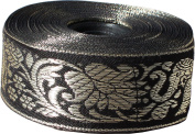 RaanPahMuang Silk Thread Ribbon Trim Roll Thai Elephant 3.8cm x 13-17 yards, Length 13 yards, Black
