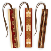 Set of 3 Inlaid Wooden Bookmark with Tassels