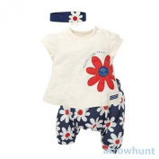 Toddler Girl's Flower Print T-shirt And Shorts With Headband Sets