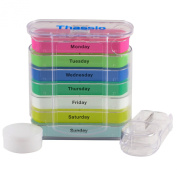 Pill Box Weekly Organiser Case with Pill Splitter Cutter - Premium Design - Large Travel Medication Reminder Daily with Am PM, Day Night Compartments for 7 days - Medicine Dispenser Twice, 3, 4 Times a Day
