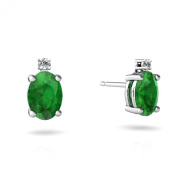 14kt Gold Emerald and Diamond 7x5mm Oval Stud Earrings