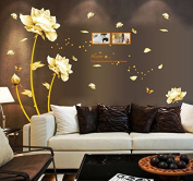 Yellow Flowers Butterflies English Letters Wall Decal Home Sticker Paper Removable Living Room Bedroom Art Picture DIY Mural Girls Boys Kids Nursery Baby Playroom Decoration + Gift Colourful Butterflies
