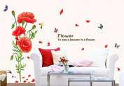 Red Flowers Colourful Butterflies Wall Decal Home Sticker Paper Removable Living Room Bedroom Art Picture DIY Mural Girls Boys Kids Nursery Baby Playroom Decoration + Gift Colourful Butterflies