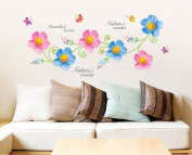 Beautiful Blue Pink Flowers Butterflies Wall Decal Home Sticker Paper Removable Living Room Bedroom Art Picture DIY Mural Girls Boys Kids Nursery Baby Playroom Decoration + Gift Colourful Butterflies
