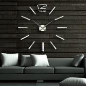 100cm Modern 3d Mirror Wall Clock, DIY Room Home Decor Bell Cool Mirror Sticker Big Watch Silver Colour