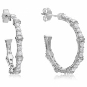 Sterling Silver Cubic Zirconia Sectioned Round Hoop (2.5cm ) Earrings