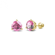 Pink Tourmaline Three Prong Solitaire Stud Earrings 1.90 ct tw in 14K Yellow Gold