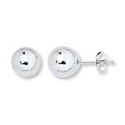 14k 6m White Gold Ball Stud Earrings