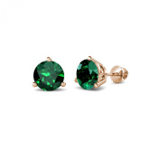 Emerald Three Prong Solitaire Stud Earrings 1.90 ct tw in 14K Rose Gold