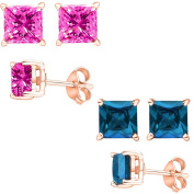 Fantom 925 Sterling Silver Rose Gold Combo Cubic Zirconia Pink & Blue Topaz Colour Princess Stud Earrings 2.00 Carat Total Weight Each Pair