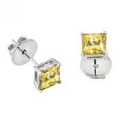 Rhodium Plated .925 Sterling Silver 1 cttw Fancy Yellow Princess_Cut_shape Cubic Zirconia Solitaire Earrings Made with. Zirconia
