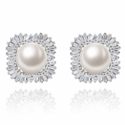 EleQueen 925 Sterling Silver CZ 8mm White Button Freshwater Cultured Pearl Stud Earrings 16mm