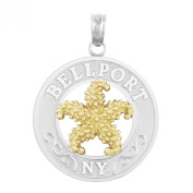 925 Sterling Silver Travel Charm Pendant, Bellport, NY, On Round, 14k Gold Starfish Centre
