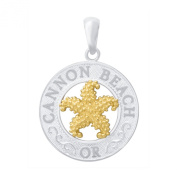 925 Sterling Silver Travel Charm Pendant, Cannon Beach, OR, On Round, 14k Gold Starfish Centre