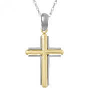 925 Sterling Silver Religious Charm Pendant with 46cm Chain, 14k Gold Bevelled Stick Cross with Frame