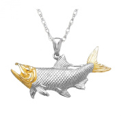 925 Sterling Silver Nautical Charm Pendant with 46cm Chain, and 14k Gold Tarpon Fish with Open Mouth