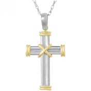 925 Sterling Silver Religious Charm Pendant with 46cm Chain, Cross with Gold X Centre And Double Endcaps