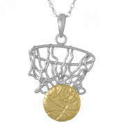 925 Sterling Silver Sports Charm Pendant with 46cm Chain, Swoosh Net & 14k Gold Basketball