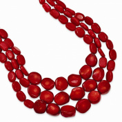 Sterling Silver Red Coral with 5.1cm ext Triple Strand Necklace
