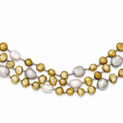 Sterling Silver 7-9mm FW Cultured Pearls 3-Strand Necklace